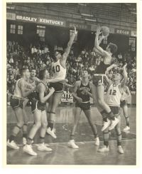Parkview's John Weston shoots over a Maplewood-Richmond Heights defender in the 1964 state semifinals. (Photo courtesy of Parkview High School)