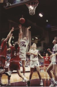 Marshfield's Melody Howard (#35) puts up a shot in the lane in the Lady Jays' 55-52 victory over Visitation Academy in the 1989 Class 3A state championship game. (Photo courtesy of Jack Howard)