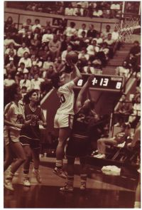 Marshfield's Stacy Nunn shoots over a Duchesne defender in the Lady Jays' thrilling 59-58 victory in the 1988 Class 3A state championship game. (Photo courtesy of Jack Howard)