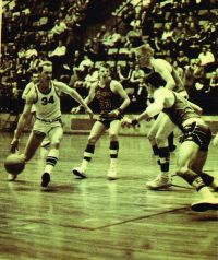 Bradleyville's Lonnie Combs (#34) drives against a Salem defender in the 1967 Blue & Gold semifinals. (Photo courtesy of Leon Combs)
