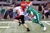Lamar's Levi Petersen v. Blair Oaks in 2012 state title game (Photo by Terry Redman)