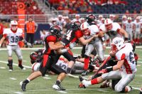 Lamar's Jared Beshore (with ball) in 2013 title game (Photo by Terry Redman)