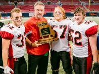 Danny Embry (32), Coach Bailey, Keegan Duncan (57) & Rylee Cunningham (52) (Photo courtesy of Lamar HS)