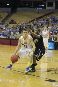 Sophomore Dawson Meyer (#11) scored 21 points off the bench in the state title game. (Staff Photo)