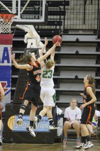Alexis Edwards blocks a Smithville shot. (Staff Photo)