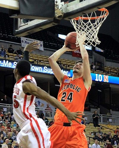 Republic's Cody Geiger muscles up two of his team-high 20 points in the Tigers' 54-51 win over Normandy in the Class 4 state championship game. (Photo by Charlie Brashers)